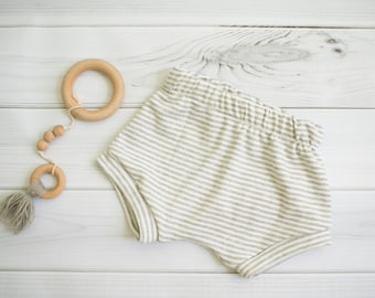 Organic Baby Shorts \\ Boho Baby Shorties \\ Baby Shorties \\ Toddler Shorts \\ Grey and White Striped Shorts \\ Modern Baby Shorties
