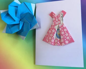 Origami greeting card - Hello Kitty paper dress (pink)