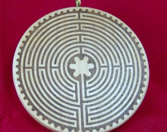 Chartres Style Wood Labyrinth Pendant