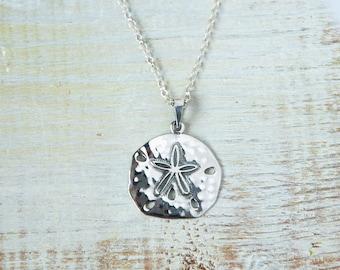Sand Dollar Necklace, Silver Sand Dollar necklace, Sand Dollar Jewellery