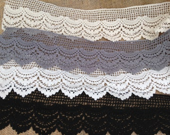Cotton Lace Trim by the yard - Scallop Lace, Gray Scalloped Lace, Off-white Lace,Black Cotton Lace,White Lace,Grey Lace,Lace Trimmings#OR02