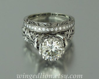 The ENCHANTED PRINCESS Moissanite 14K gold engagement ring and wedding band set