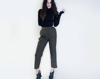 Cropped High Waist Pants • Women's High water Bottoms • Vintage Military Polyester Pant • Tall Length • L415 & Co. Clothing (# 415-43V)