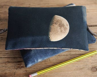 Moon purse with zip, zipper purse, cosmetics bag, wallet, phone case