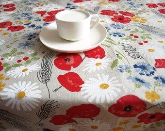 """Linen Wedding tablecloth natural linen poppy meadow red white flowers Eco Friendly 56""""x56"""" or made to order your size, great GIFT"""