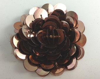 "Sale! Raised Layered Sequins Bronze Flower Appliqué, 2""  -5302-1479"