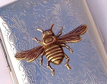 Bee Cigarette Case Vintage Inspired Gothic Victorian Steampunk Silver Plated Holder & Rustic Brass Bee Small Double Sided Case