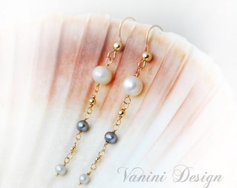 Pearls & Gold - 14k gold fill and pearls dangle earrings
