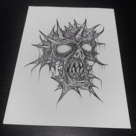 Spike head zombie original traditional artwork