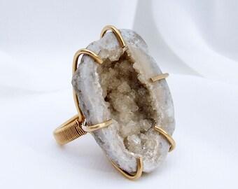 Geode Ring, crystal cluster ring, raw stone ring, natural stone ring, Keokuk geode, prong set, ring size 6