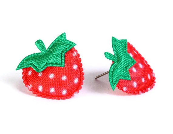 Red strawberry felt satin applique hypoallergenic studs earrings READY to ship (427)