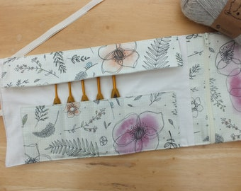 Crochet Hook Storage Case, Organizer with Pouch, Crochet Hook Roll Holder