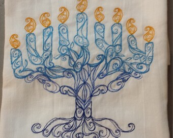 READY TO SHIP !!  Delicate Menorah Embroidered Flour Sack Hand /Dish Towel
