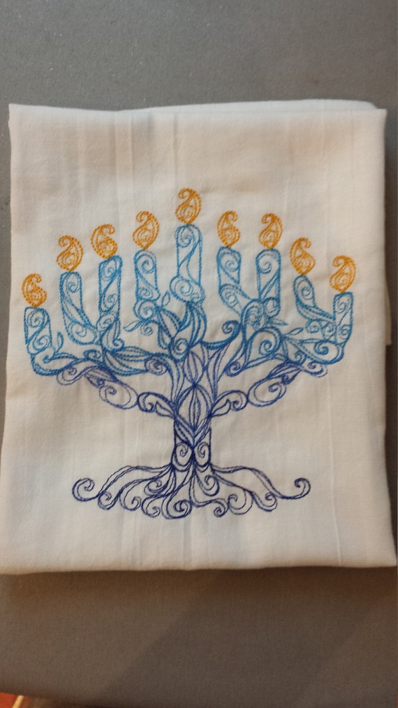 Ready To Ship !!  Delicate Menorah Embroidered Flour Sack Hand /Dish Towel by Etsy