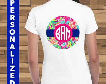 Monogram Lilly Print Personalized Shirt | 100% Cotton Shirt | Sorority Girls Monogram Shirt | Lilly Print Monogram Shirt | Custom Monogram