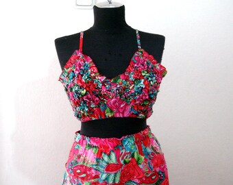 Two Piece top skirt, Matching Crop top and skirt set, floral pink 2 piece Gypsy Hawaiian Dress