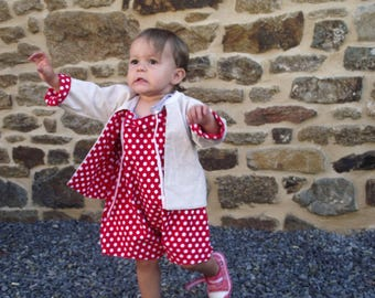 Cute 12 month reversible cotton overalls