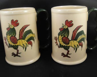"Metlox Poppytrail California Provincial Green Rooster Grand Mug 5"" Set of Two"