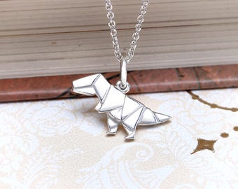 Cute Origami T-rex Dinosaur Necklace | Sterling Silver T-rex Charm Necklace | Original T-rex Dinosaur Pendant Animal Jewelry
