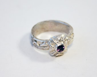 Silver clay ring w/purple stone