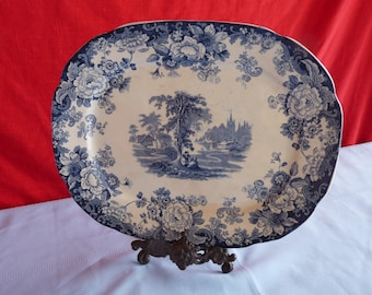 Allerton's & Sons 1903 KENILWORTH pattern - Blue and White Transferware SERVING Meat Tray Platter...Free USA Shipping!!