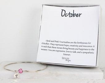 Personalized October Birthstone Swarovski Sterling Silver Bangle Bracelet, Tourmaline Sterling Silver Bracelet, Personalized Bracelet