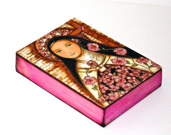 The Little Flower of Jesus - ACEO Giclee print mounted on Wood (2.5 x 3.5 inches) Folk Art  by FLOR LARIOS