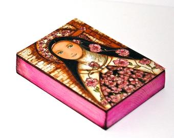La petite fleur de Jésus - ACEO giclée print monté sur bois (2,5 x 3,5 pouces) Folk Art par FLOR LARIOS