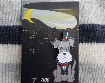 Dog Enamel pin - dog pin - terrier pin - dog badge - dog lapel pin- Schnauzer pin - dog related jewellery - limited edition pin -lapel pin