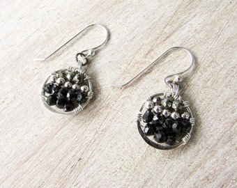 Wire wrapped Silver and Black Spinel Earrings, Bohemian Wire Wrapping,Silver Spinel Pyrite,Unique Handmade, delicate beaded, Bohemian silver