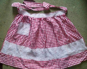 Vintage Handmade Red Checked Apron