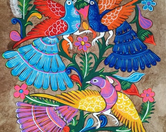 Mexican Painting, Birds of Paradise, Mexican Folk Art, Original Painting, Wall Art, Housewarming Gift, Hand Painted, Bark Paper, 60cm x 40cm