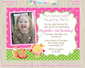 Pancakes and Pajama Party Invitation invite Pancake Party invitation invite Pancakes and Pj's photo picture CHOOSE your GIRL