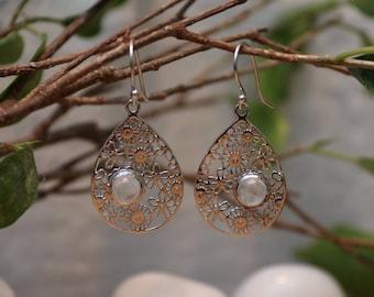 Silver Filigree Moonstone Teardrop Earrings