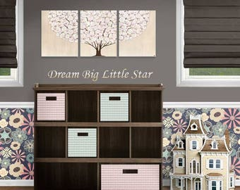 Tree Nursery Art Original Painting on Canvas Triptych in Pink and Brown for Girl Nursery Decor - 35x14