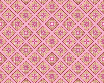 Primavera Tile in Pink Cotton Fabric by Patty Young for Riley Blake