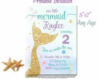 Mermaid Birthday Invitation, Mermaid 1st Birthday Invitation, Mermaid Party, Under the Sea, Glitter Invite, Girl Birthday, Digital File.