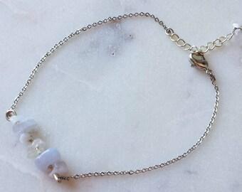 Blue Lace Agate Chain Bracelet/ Gemstone Bracelet/ Natural Stone Bracelet/ Natural Crystal Bracelet/ Crystal Bracelet/ Healing Crystal