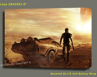 "Mad Max Giclee Art W Gallery Wrap Ready To Hang Size 28X20X1.5"" & Larger"
