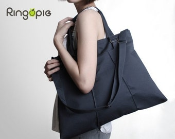 Dark Grey Pleated Bag with Adjustable Strap/Totes(water resistant)/messenger bags/school bag/purse/For Her- 013