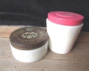 Jars Milk Glass Vintage Cosmetic Jar Ponds ? Nova American Shoe Polish Co White Cleaner Eagle Brand