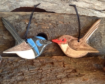 Male and Female Australian Superb Fairy Wrens, Wall Hanging, Garden Decor.