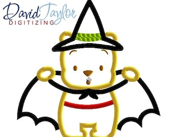 Halloween Cutie Pooh - 4x4, 5x7, 6x10 and 8x8 in 9 formats - Applique - Instant Download - David Taylor Digitizing