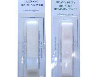 Iron On Hemming Tape W:20mm Heavy Duty Hem It or Normal Hem It 4 meter cards