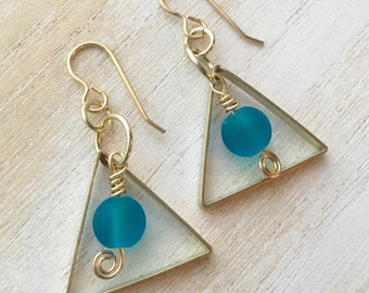 Blue Seaglass & Brass Triangle Earrings