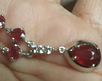 Niassa Ruby (Pear 2.10 Ct), White Topaz Necklace (18 in) in Sterling Silver  TGW 7.73 cts.