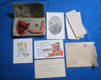 Antique WW1 Illinois Soldier Archive Including Letter Photo Patches Postcards