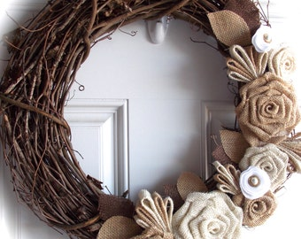 Grapevine wreath with burlap and felt flowers