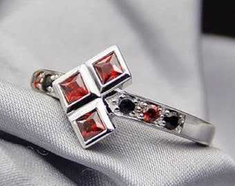 Wedding Ring Harley Quinn Ring Ruby and Black Diamond Ring in 925 Sterling Silver