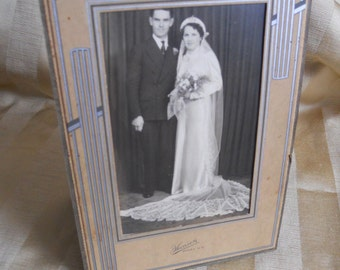 Antique Wedding Cabinet Card Photograph with Folder Frame